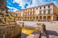 Main square in Soria. The City hall of the city of Soria, Castilla y Leon, Spain. The Palacio de los Linajes is located in the main square (Plaza Mayor) of the stock image