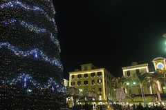 Sorrento xmas night. The main square of sorrento in italy in christmas time Stock Photos