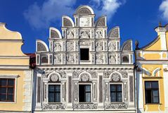 Main square in Telc, Czech Republic Unesco city Royalty Free Stock Image