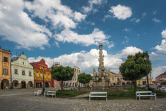 Main square in Telc, a town in Moravia with the famous 16th-century houses, Czech republic. Unes Royalty Free Stock Photography