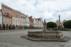 Main square in Telc, UNESCO city in Czech Republic Stock Images