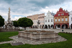Main square in Telc, UNESCO city in Czech Republic Royalty Free Stock Photo