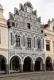 Main square in Telc, UNESCO city in Czech Republic Royalty Free Stock Photography