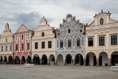 Main square in Telc, UNESCO city in Czech Republic Stock Images