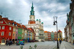 The main square and town hall in Poznan, Poland. Stock Image