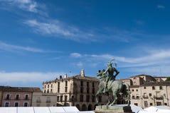 Main Square of Trujillo. Statue of Francisco Pizarro in the Main Square of Trujillo, Caceres, Spain Royalty Free Stock Image