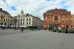 Main square in Uppsala Stock Images