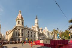 The Main Square in Valencia, Spain on a sunny winter`s day royalty free stock photo
