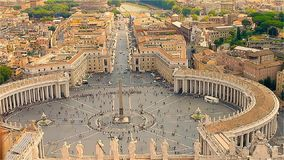 The main square of the Vatican with a obelisk, top view.  stock video footage
