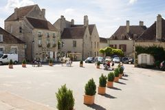 The main square in the Vezelay village in Burgundy, France stock photos