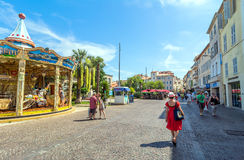 Main square view in Antibes old town, France Stock Image