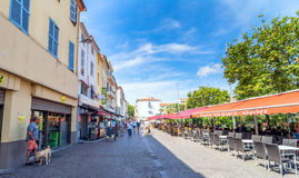 Main square view in Antibes old town, France Royalty Free Stock Photos
