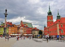 Main square of Warsaw, Poland Royalty Free Stock Photo