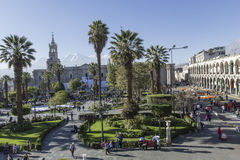 Main square 'Plaza de Armas' in Arequipa, Peru. Stock Images