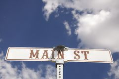 Main St American road sign Royalty Free Stock Images