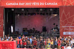 Main stage at Canada Day celebrations in Trafalgar Square London 2017. Canada Day celebrations 2017 in Trafalgar Square in London.  Crowds of happy people Stock Image