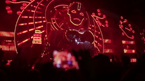 Main stage music festival. DJs play music. stock video footage