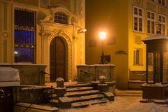 The main staircase and entrance of the historic building on Long Market Dlugi Targ street in night. Royalty Free Stock Image