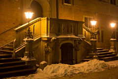 The main staircase of the historic building on Long Market Dlugi Targ street in night. Royalty Free Stock Images