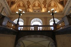 Main staircase. View of the second floor. Mikhailovsky Castle. St. Petersburg. royalty free stock photography