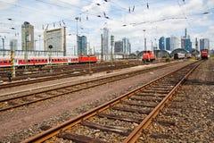 At the main station in Frankfurt Stock Photo