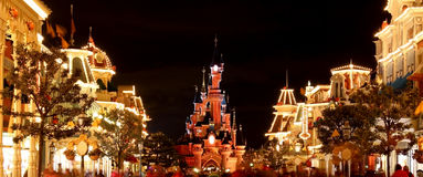 Main Street. And Cinderella castle at disneyland paris Royalty Free Stock Photo