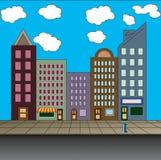 Main Street. A cartoon style City Street Royalty Free Stock Photos