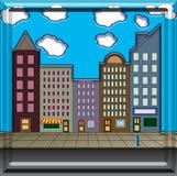 Main Street. A cartoon style City Street with beveled frame Stock Photography