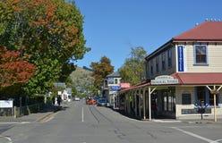 Main Street of Akaroa in Autumn royalty free stock photography