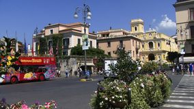 Sorrento Italy with tour bus stock footage