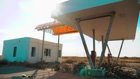 Main street of america. Route 66. crisis road 66 fueling slow motion video. Old dirty deserted lifestyle gas station. U
