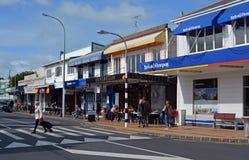 Main Street av fjärden för St Helliers i Auckland, Nya Zeeland Arkivfoto