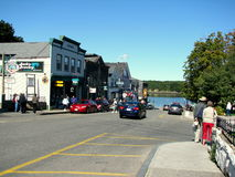 Main Street in Bar Harbor USA. Bar Harbor is a town on Mount Desert Island in Hancock County, Maine, United States Royalty Free Stock Photo