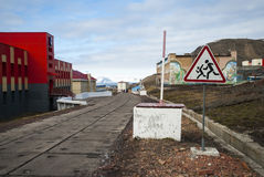 Main street in Barentsburg, russian settlement in Svalbard Royalty Free Stock Photography