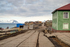 Main street in Barentsburg, russian settlement in Svalbard Royalty Free Stock Image