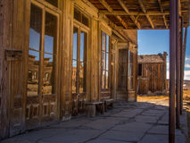 Main Street Bodie. Is reflected in the store windows Stock Images