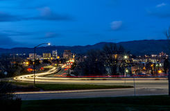 Main street through Boise Idaho with streaking car lights Stock Images
