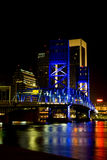 Main street bridge, Jacksonville, Florida. Bridge lit with blue lights reflected in the St. Johns River in Jacksonville, Florida Royalty Free Stock Image