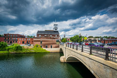 The Main Street Bridge over the Nashua River, in Nashua, New Ham. Pshire Royalty Free Stock Photo
