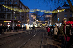 Main street with chrismas decoration Royalty Free Stock Photo