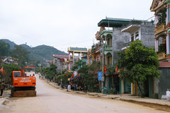 The main street in the colorful village of Dong Van Stock Images