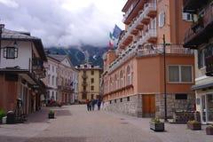 Main street in Cortina d'Ampezzo., Italy Stock Image