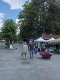 Main Street dans Sinaia, Roumanie image stock