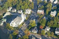 Main Street in der Stadt von Saco, Maine stockbilder
