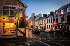 Main street. Donegal town. county Donegal. Ireland. The Main street at night. Donegal town. county Donegal. Ireland royalty free stock photo