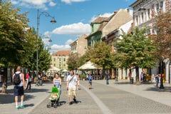 Main Street Downtown Sibiu Stock Photo