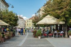 Main Street Downtown Sibiu Stock Photos