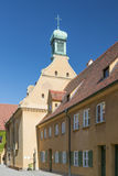 Main Street of the Fuggerei in Augsburg stock images