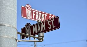 Main and Front Street. Main Street is a generic phrase used to denote a primary retail street of a village, town or small city in many parts of the world. It is stock photo