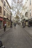 Main Street Gibraltar. NnGibraltar is a British Overseas Territory and headland, on Spain`s south coast. It's dominated by the Rock of Gibraltar, a 426m-high Royalty Free Stock Images